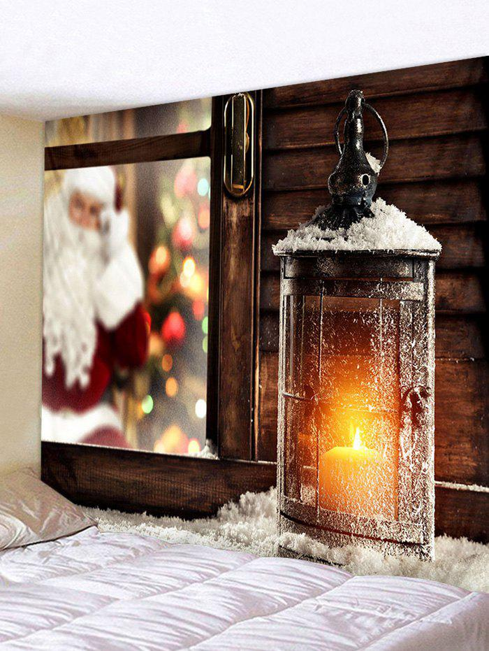 Christmas Lantern Window Print Tapestry Wall Hanging Art Decor - multicolor W91 X L71 INCH