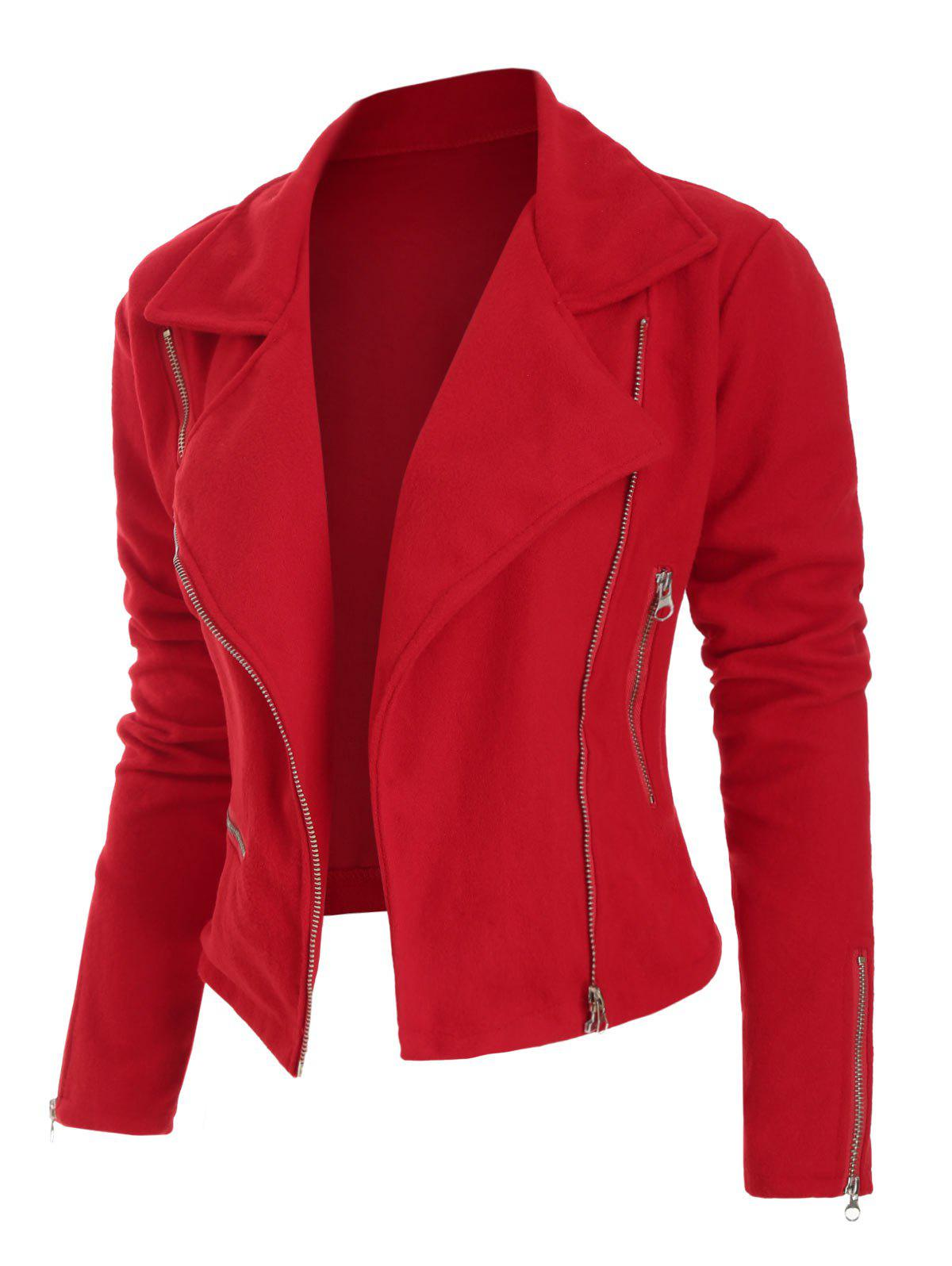 Plus Size Zippered Veste en laine - Rouge L