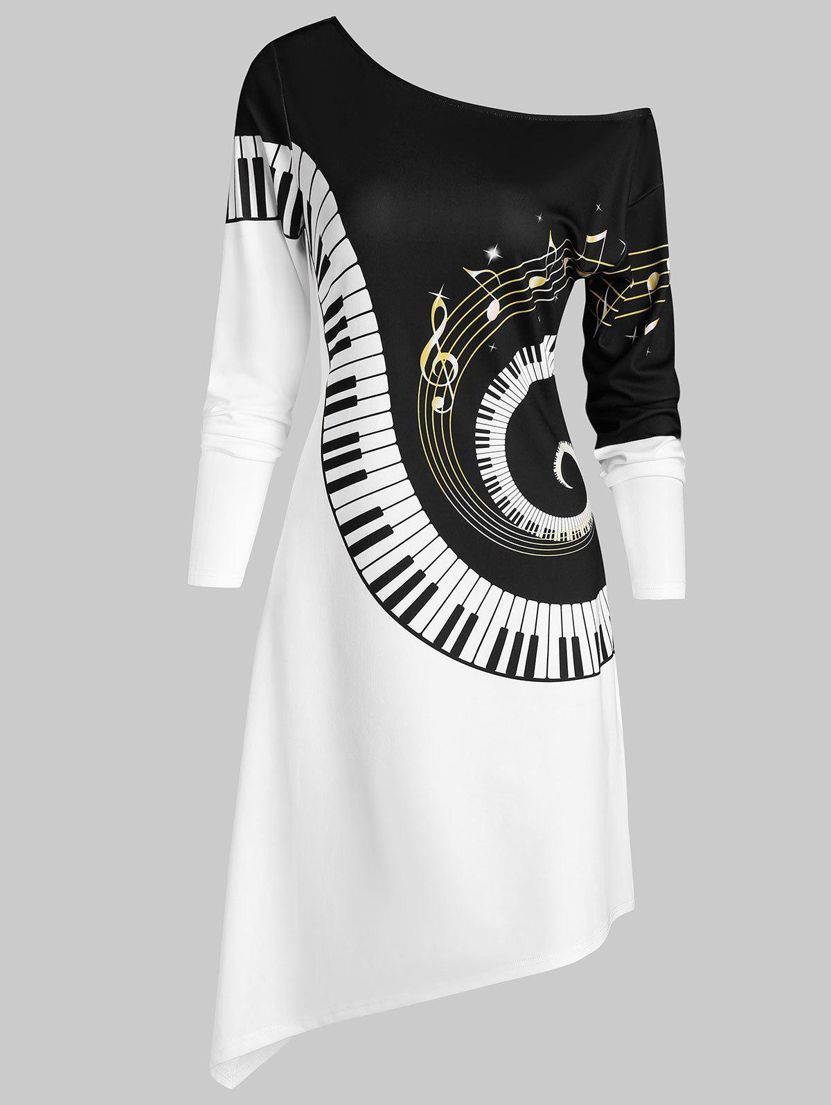 Piano Graphic Exposed Shoulder Asymmetric Dress - multicolor A L