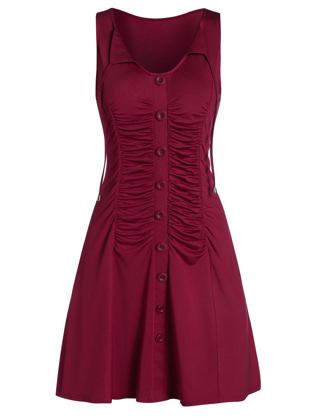Front Tie Ruched Sleeveless Mini Dress - RED WINE 2XL