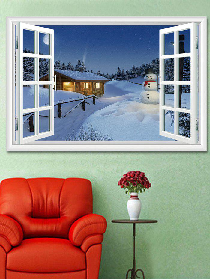 Christmas Snowman House Window Print Decorative Wall Art Sticker - multicolor 1PC X  24 X 35 INCH( NO FRAME )