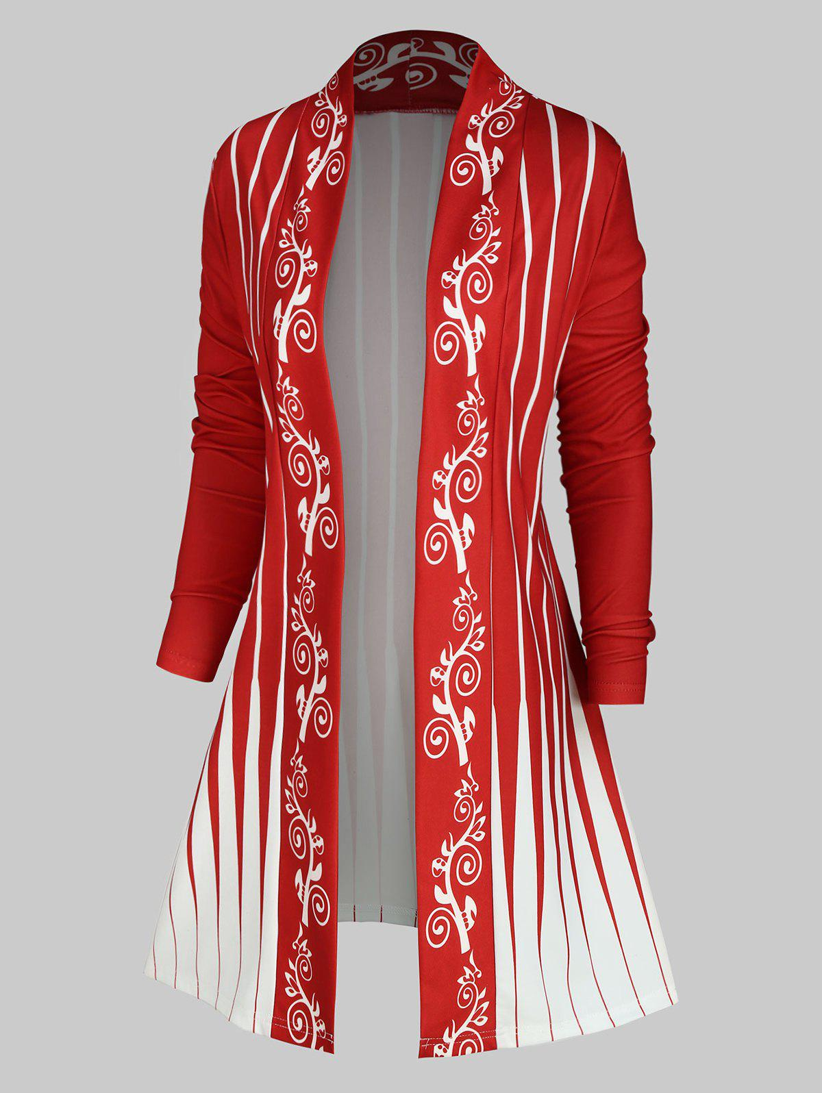 Plus Size Printed Open Front Cardigan - RED 3X