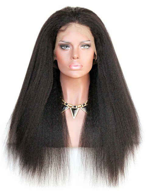 Long Yaki Straight Human Hair Lace Wig - NATURAL BLACK 22INCH