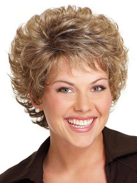 Short Curly Free Part Synthetic Wig - CAMEL BROWN