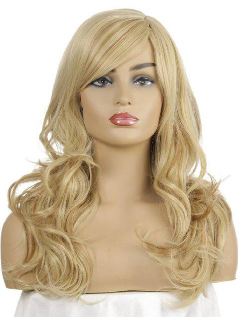 Synthetic Long Side Part Body Wave Wig - SUN YELLOW