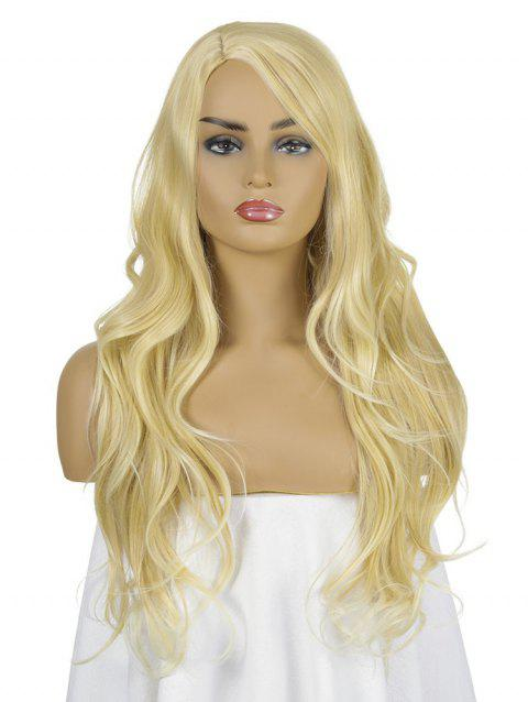 Solid Side Part Long Straight Synthetic Wig - SUN YELLOW