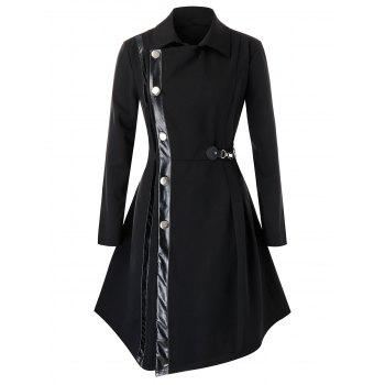 Plus Size PU Trim Buckle Asymmetric Coat