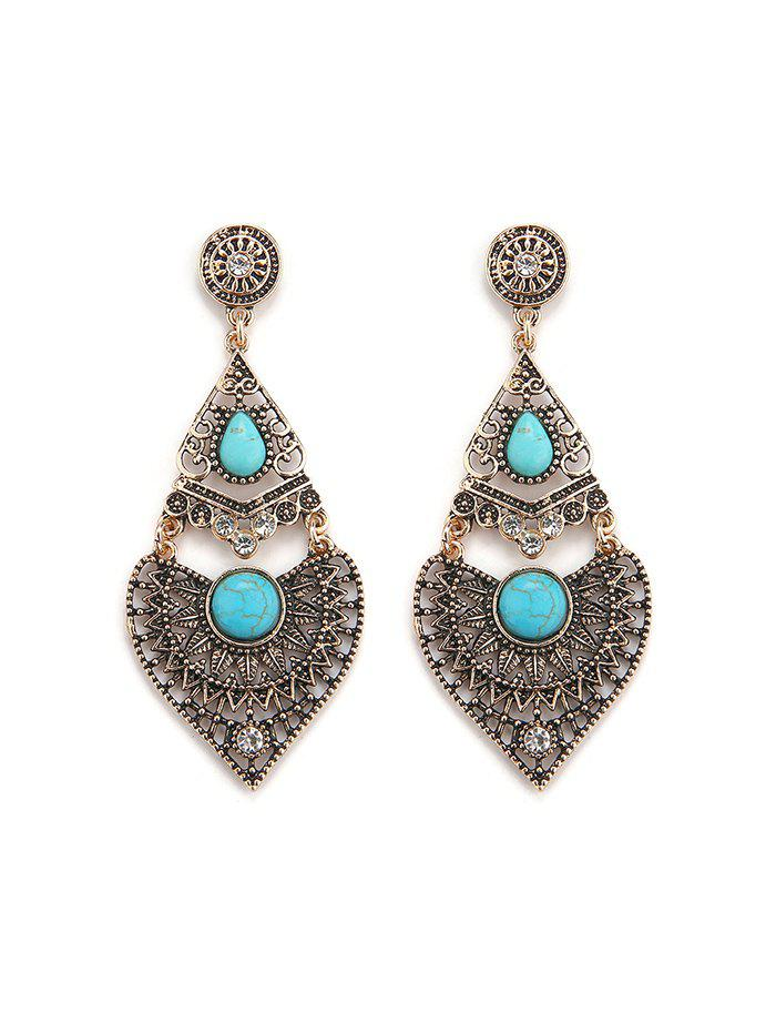 Bohemian Turquoise Hollow Out Drop Earrings - GOLD
