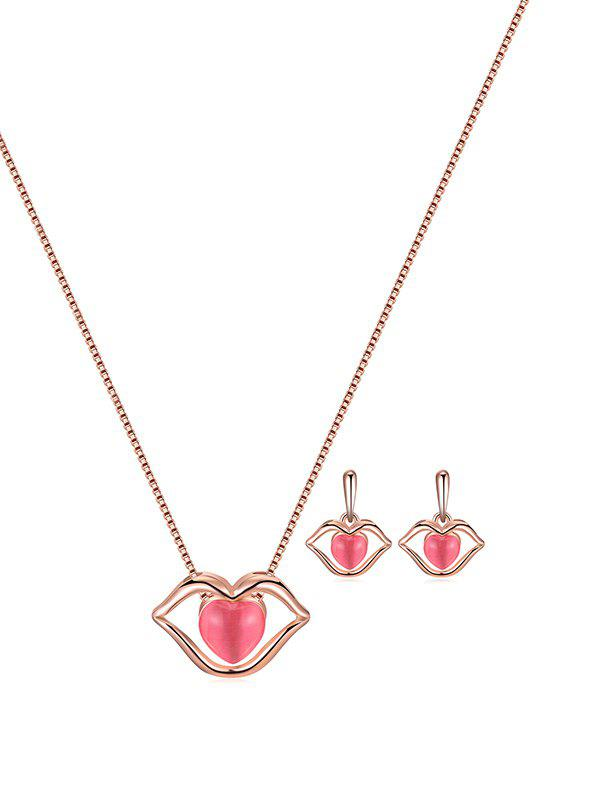 Artificial Opal Heart Lip Necklace with Earrings - DEEP PINK