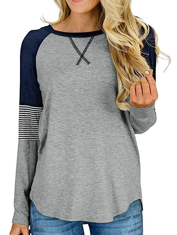 Raglan Sleeve Striped Longline T-shirt - GRAY XL