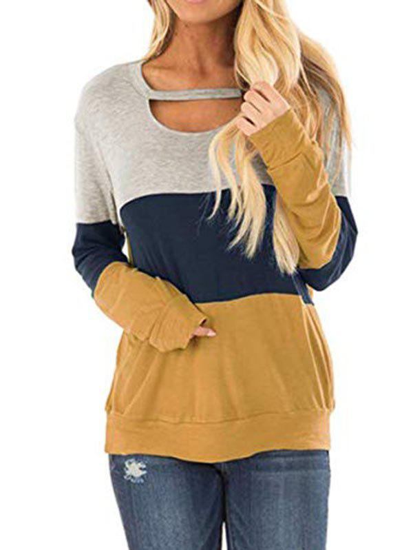Sweat-shirt Long Découpé en Blocs de Couleurs - multicolor A S