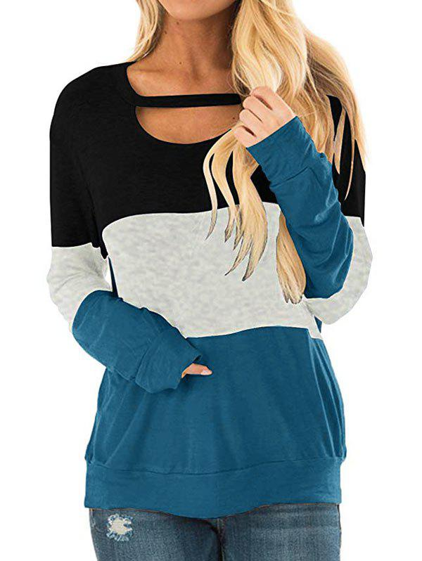 Cutout Colorblock Longline Sweatshirt - multicolor D XL