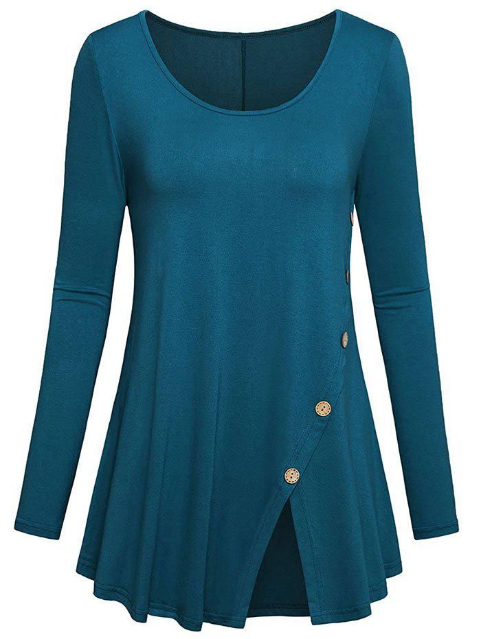 Plus Size Mock Button Slit Longline T-shirt - BLUE IVY 2X