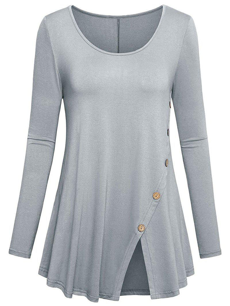 Plus Size Mock Button Slit Longline T-shirt - LIGHT GRAY 1X