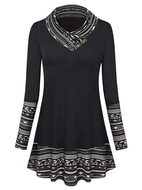 Plus Size Mock Button Geometric Longline T-shirt - BLACK 2X