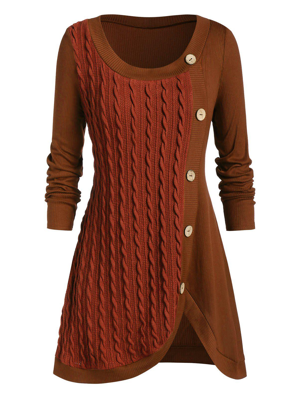 Plus Size Buttoned Front Slit Cable Knit Sweater - CHESTNUT RED 3X