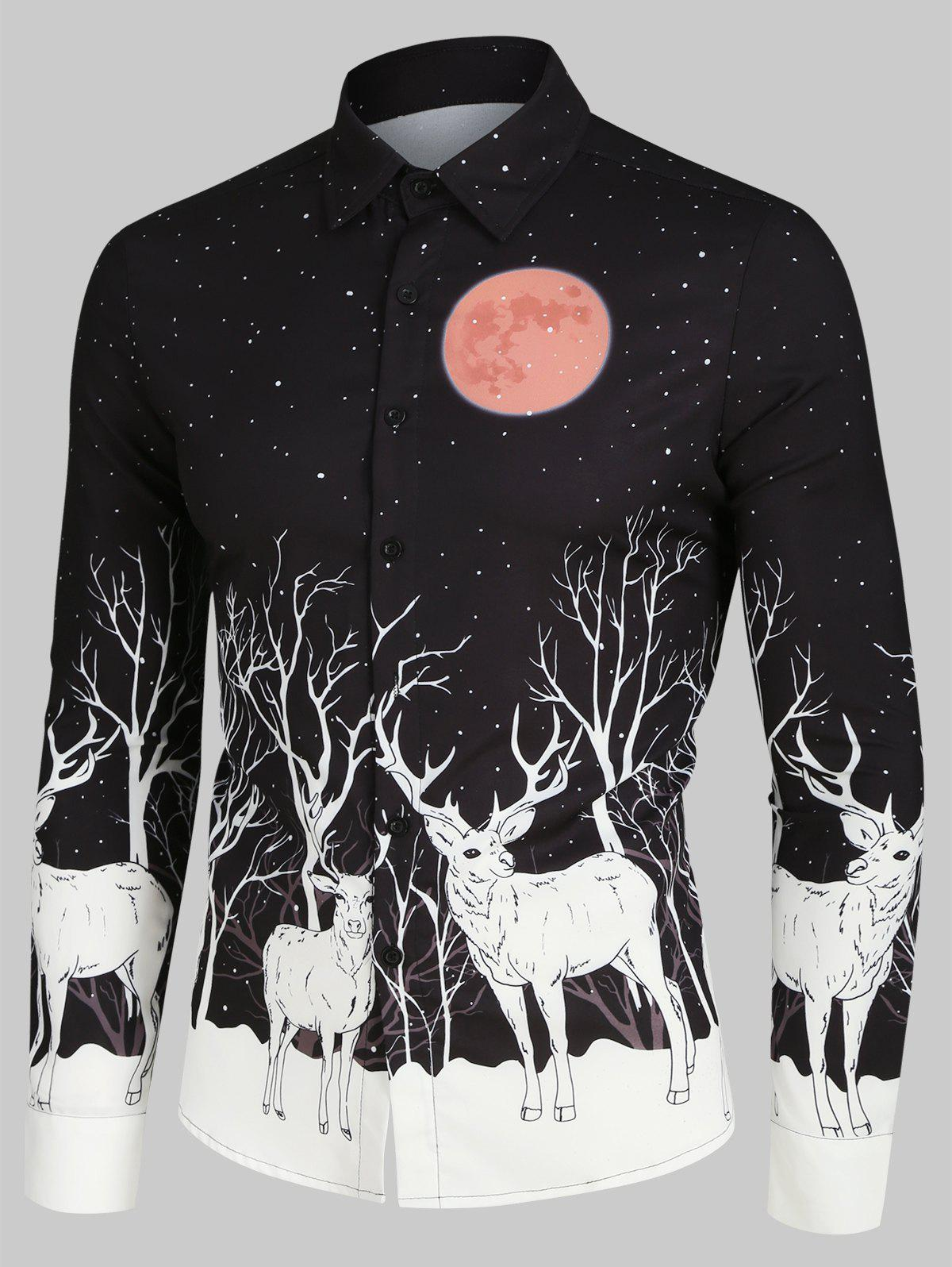 Christmas Elks Moon Night Print Button Up Long Sleeve Shirt - BLACK 3XL