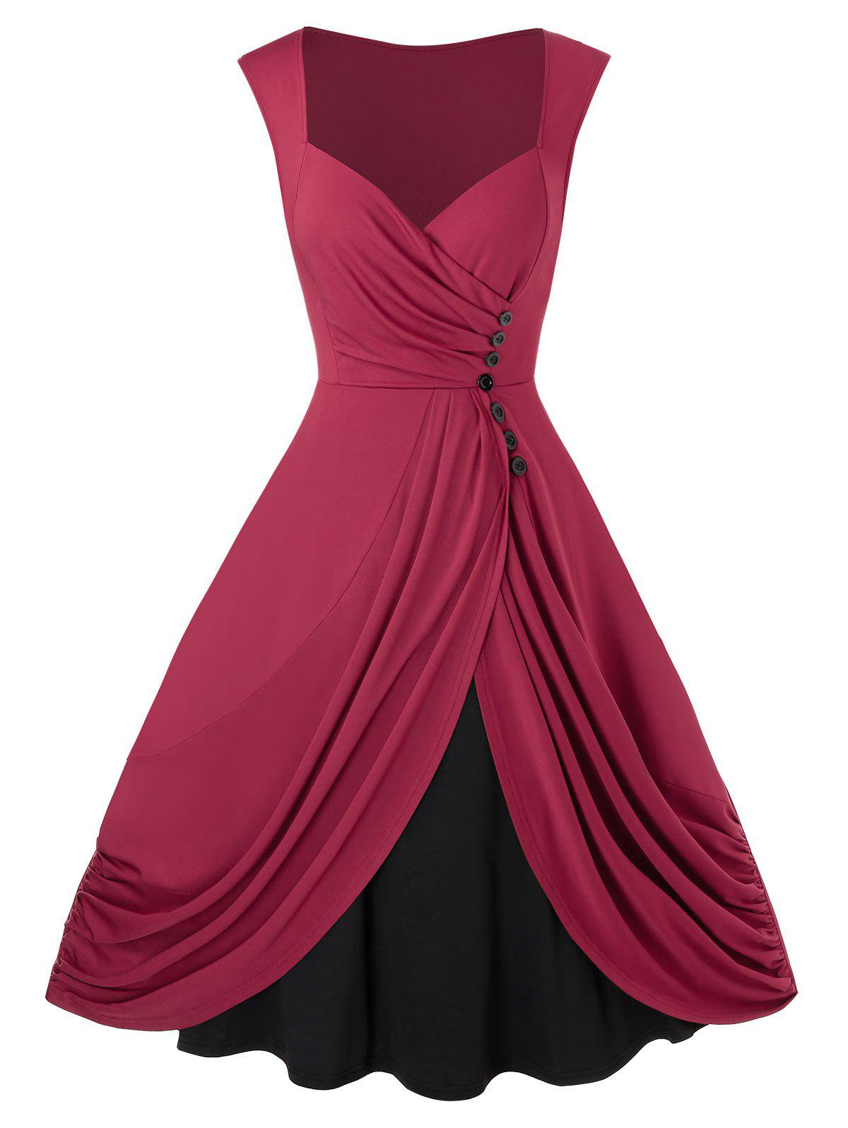 Plus Size Ruched Sweetheart Neck Pin Up Dress - RED WINE L