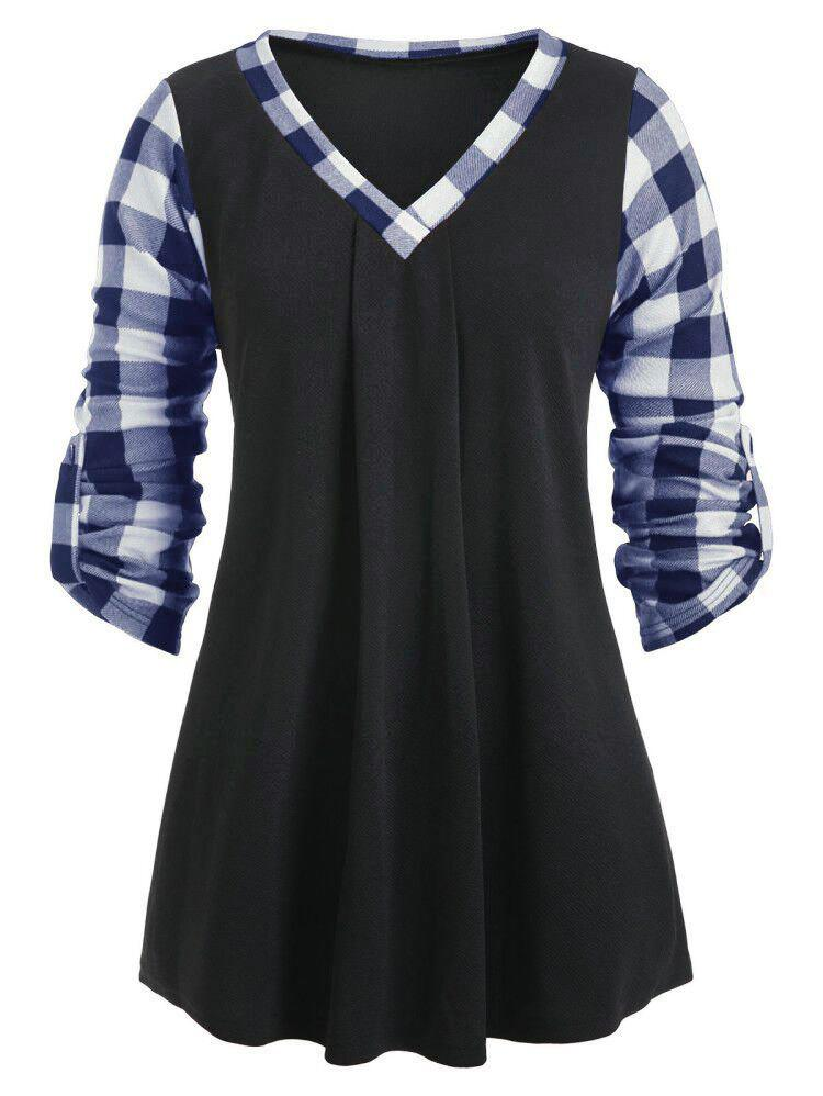 V Neck Plaid Insert Rolled Sleeve Blouse - MIDNIGHT BLUE M
