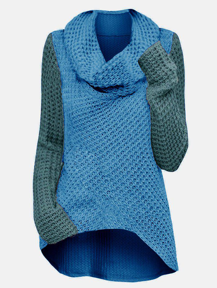 High Low Cowl Neck Colorblock Plus Size Knitwear - DEEP SKY BLUE 2X