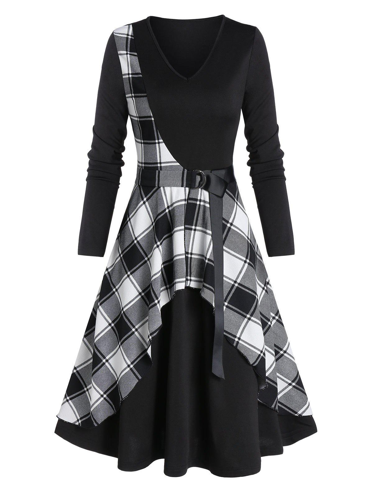 Plaid Panel V Neck Long Sleeve A Line Dress - multicolor A L
