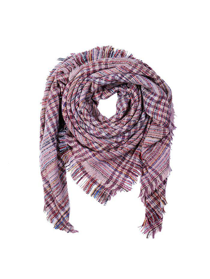 Plaid Fringe Faux Cashmere Square Scarf - LIGHT PINK