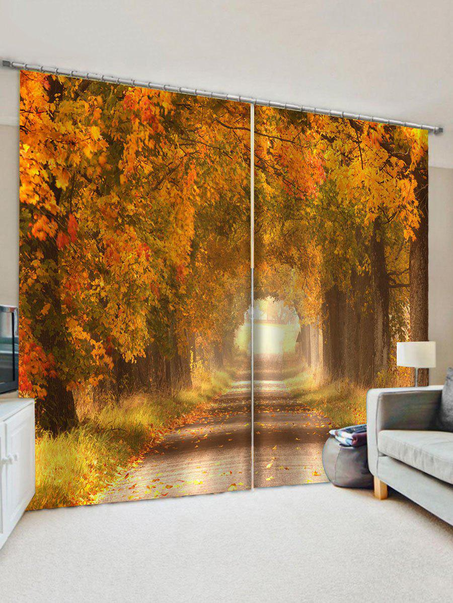 Autumn Leaves Pattern Window Curtains - multicolor W33.5 X L79 INCH X 2PCS