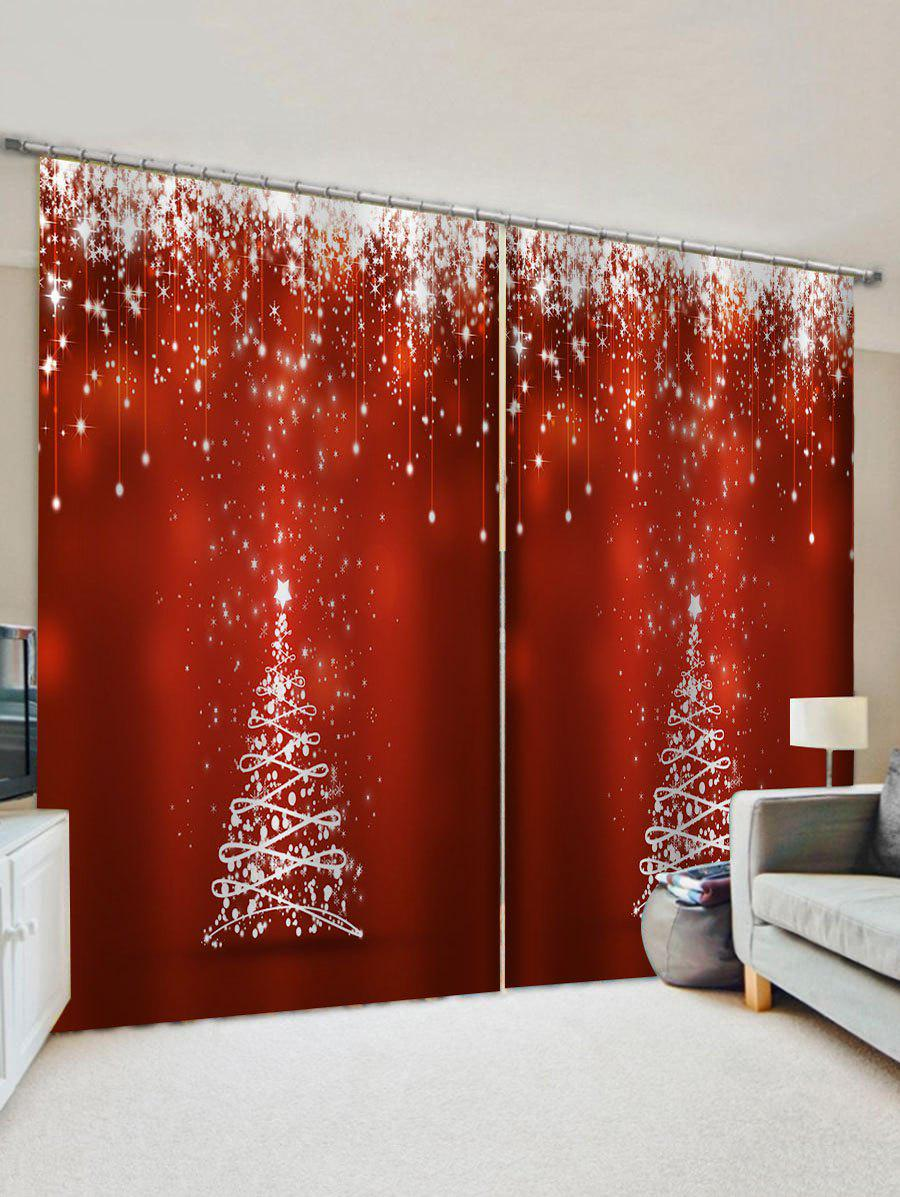 Christmas Tree Star Pattern Window Curtains - multicolor W30 X L65 INCH X 2PCS