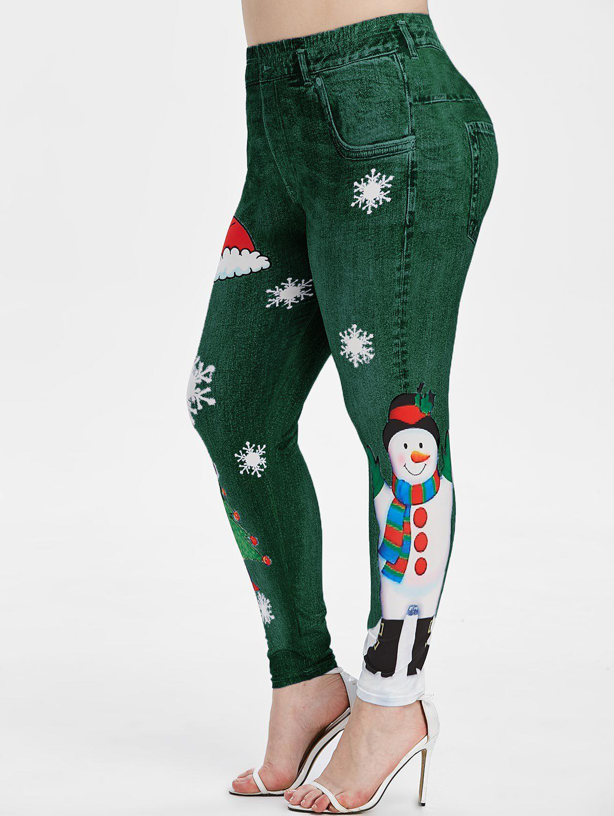Plus Size Snowman Snowflake Print Christmas Jeggings - MEDIUM SPRING GREEN 2X
