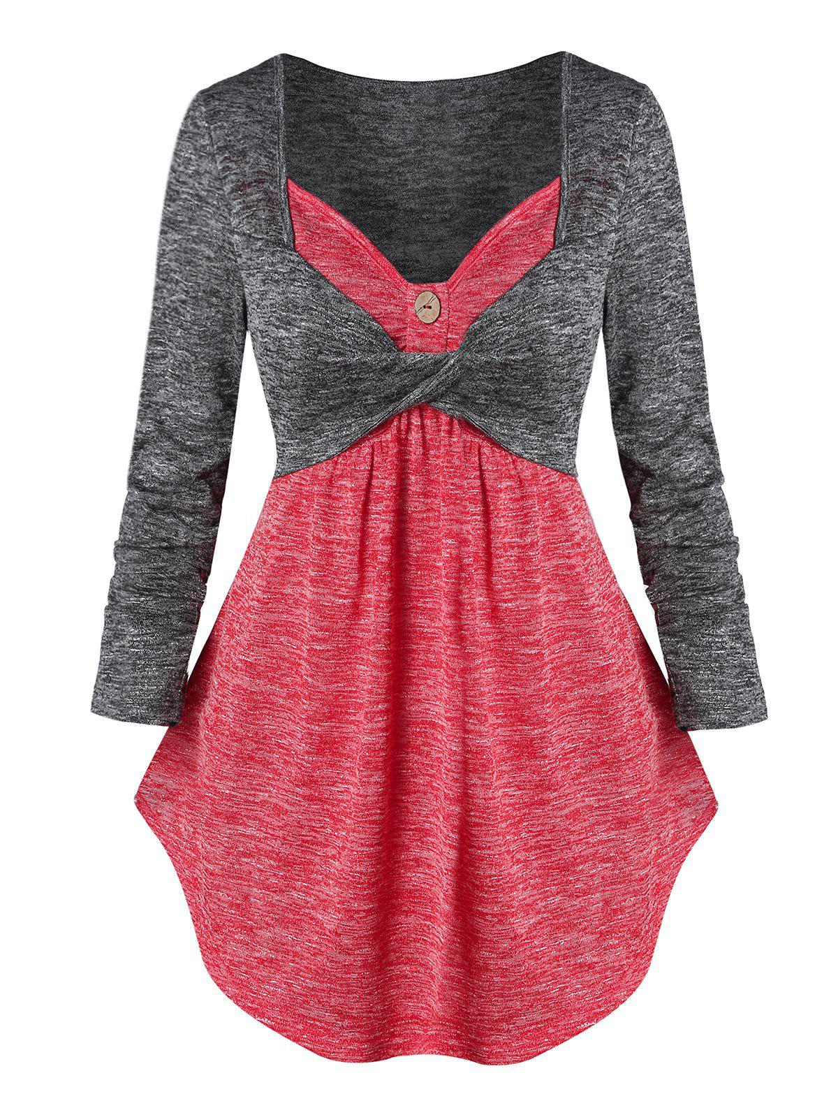 Twist Front Contrast Heathered 2 in 1 Knitwear - RED XL