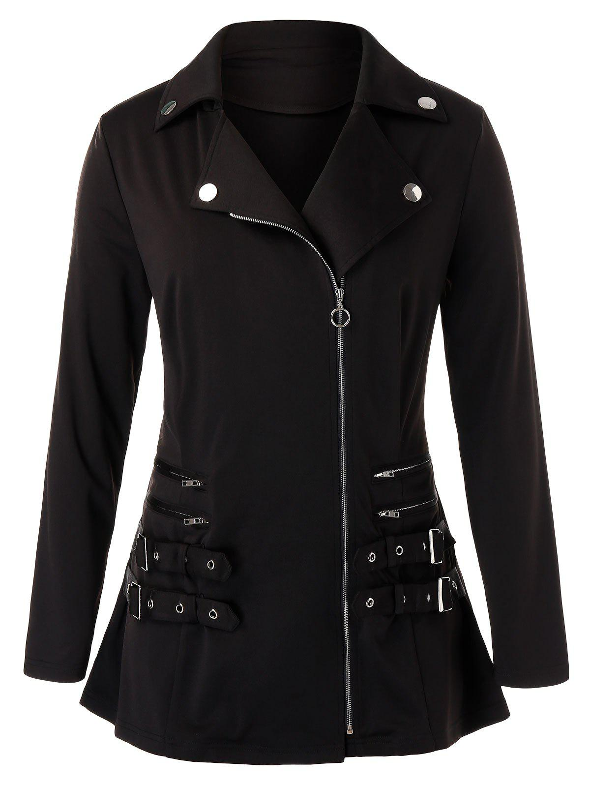 Plus Size Buckle Zippered Full Zip Jacket - BLACK 3X