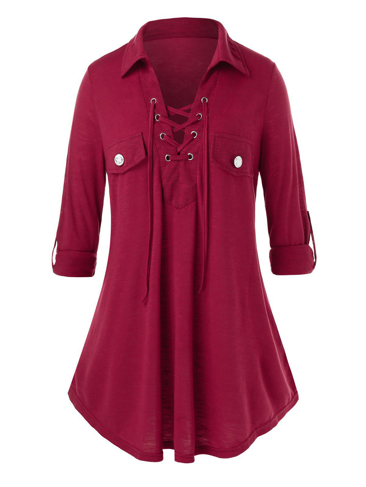 Plus Size Lace Up Roll Up Sleeve Tunic Top - RED WINE 5X