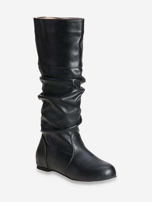 Solid Color Ruched Knee High Boots - BLACK EU 41