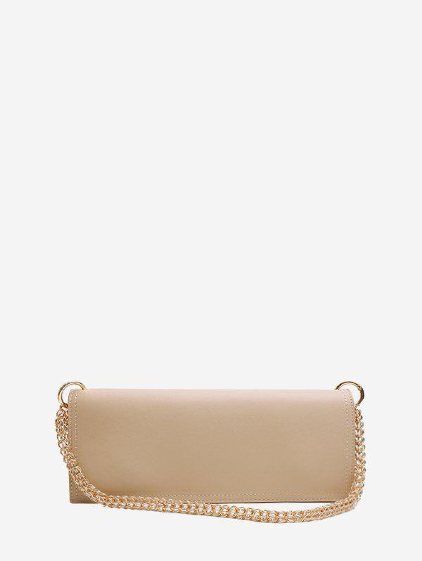 Long Solid Chain Shoulder Bag - LIGHT KHAKI