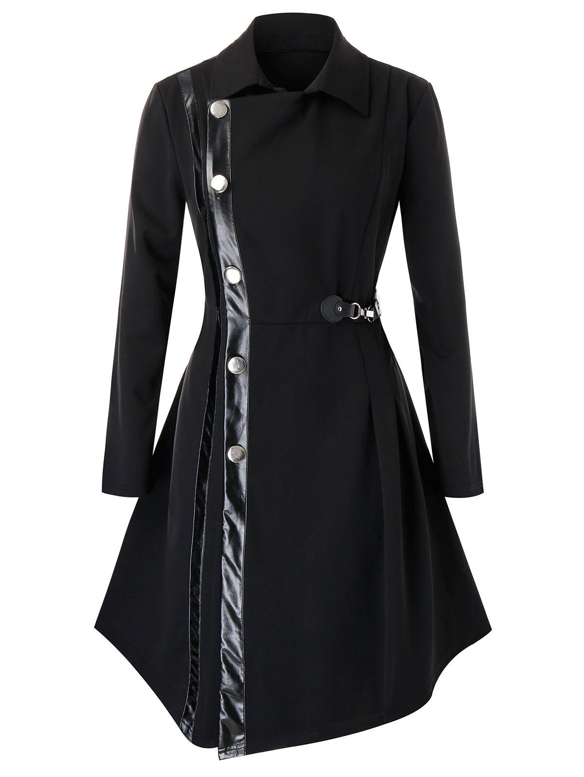Plus Size PU Trim Buckle Asymmetric Coat - BLACK 5X