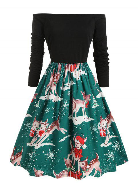 Off Shoulder Snowflake Elk Print Christmas Plus Size Dress