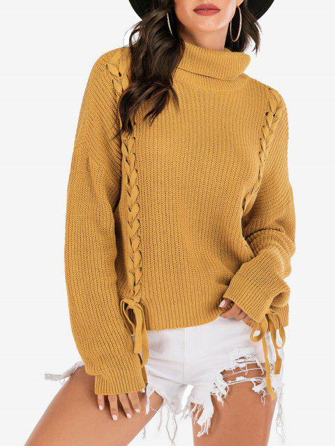 Turtleneck Lace-up Drop Shoulder Ribbed Sweater