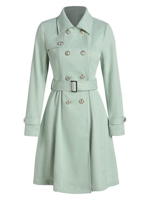 Double Breasted Wool Blend Belted Skirted Coat - PALE BLUE LILY 3XL