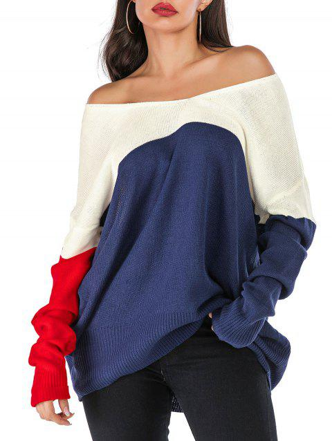Convertible Neck Drop Shoulder Contrast Oversized Sweater - BLUE XL