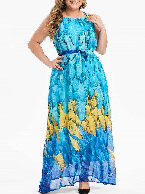 Feather Print Belt Plus Size Maxi Chiffon Dress