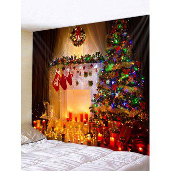Christmas Tree Fireplace Candles Print Tapestry Wall Hanging Art Decoration