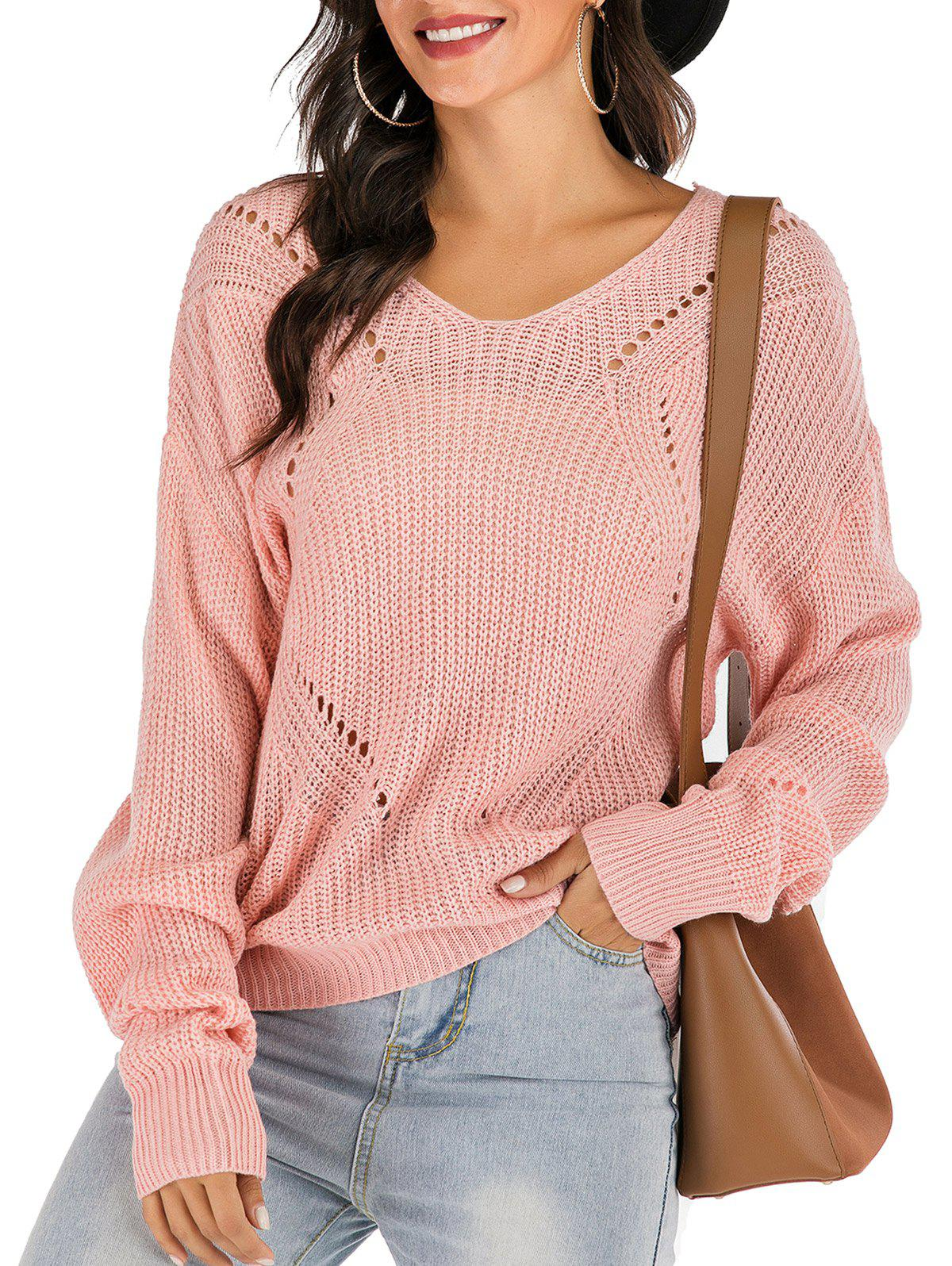 V Neck Lace-up Open Knit Ribbed Sweater - PINK S