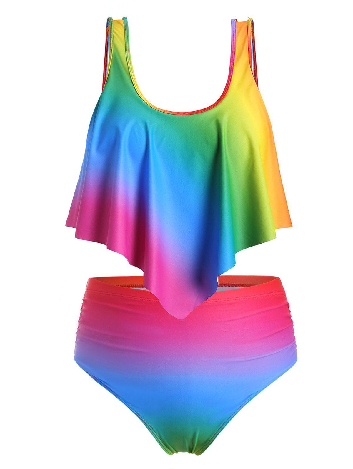 Plus Size Ombre Rainbow Flounce Tankini Swimsuit - multicolor 5X