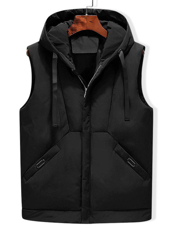Solid Hooded Quilted Waistcoat - BLACK XS