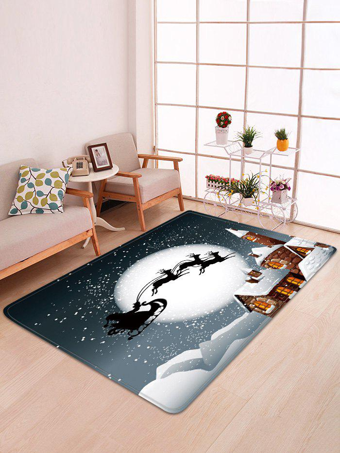 Christmas Moon Night Sleigh Castle Pattern Water Absorption Area Rug - multicolor W47 X L63 INCH
