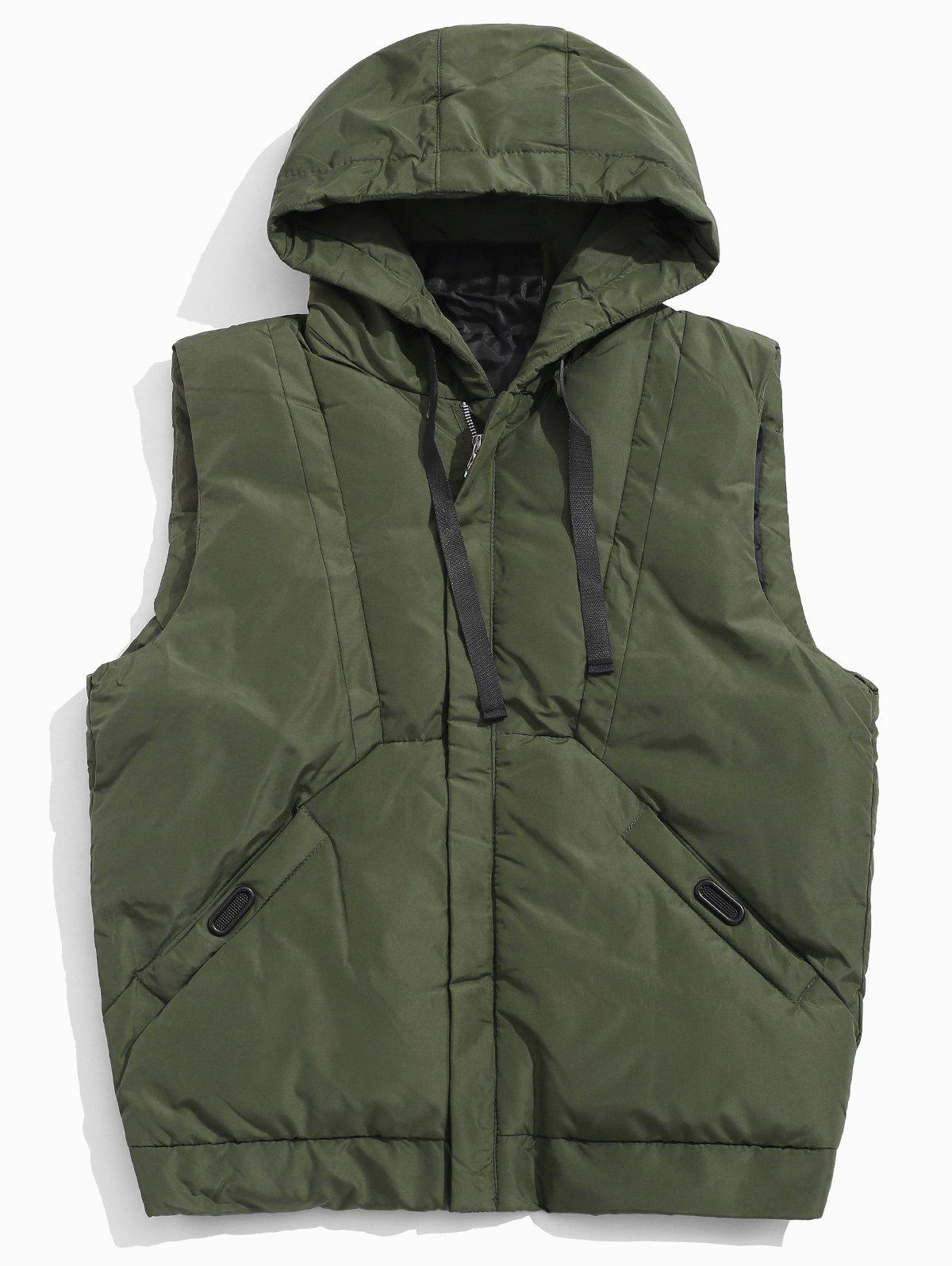 Solid Hooded Quilted Waistcoat - ARMY GREEN XS