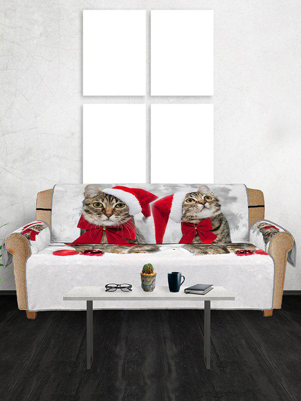 Christmas Cat Hat Balls Pattern Couch Cover - multicolor THREE SEATS