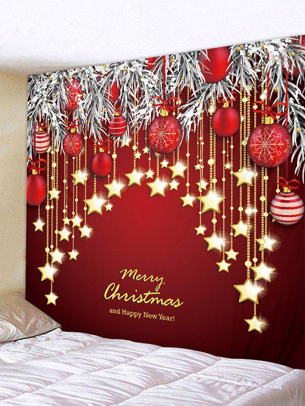 Christmas Balls Stars Greeting Print Tapestry Wall Hanging Art Decoration - multicolor W79 X L59 INCH
