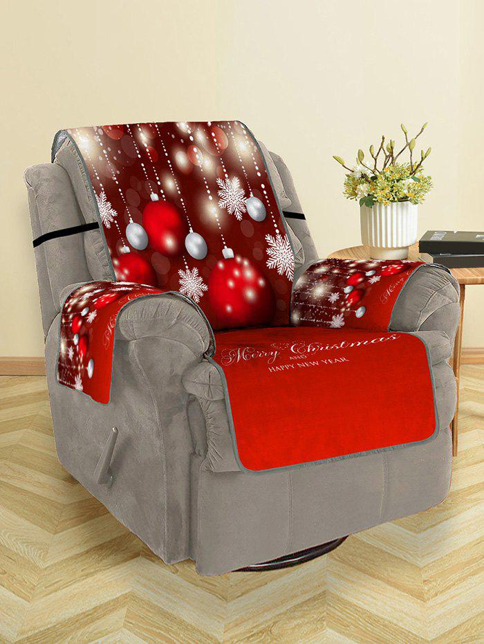 Christmas Balls Snowflake Greeting Pattern Couch Cover - multicolor SINGLE SEAT