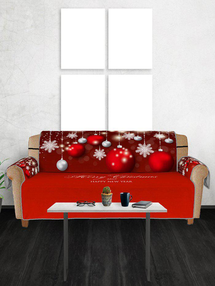 Christmas Balls Snowflake Greeting Pattern Couch Cover - multicolor THREE SEATS